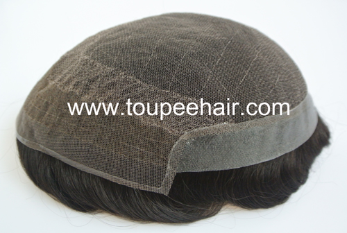 Stock double lace skin toupee Q7